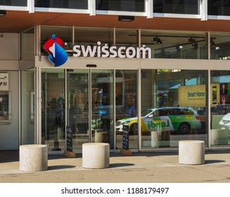 Winterthur, Switzerland - September 19, 2018: entrance to a store of the Swisscom. The Swisscom AG company is a major telecommunications provider in Switzerland.