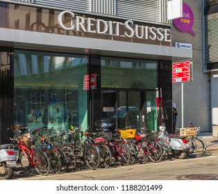 Winterthur, Switzerland - September 19, 2018: entrance to an office of Credit Suisse. The Credit Suisse Group AG is a Swiss multinational investment bank and financial services company.
