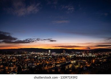 Winterthur Switzerland view from Goldenberg viewpoint over the city after sunset