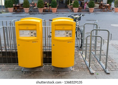 Winterthur, Switzerland-March 24, 2017: a letter box of Swiss Pos in Winterthur , Swiss Post is the national postal service of Switzerland, it is a public company owned by the Swiss Confederation