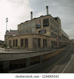 Winterthur, Zurich / Switzerland - 09 15 2017: Railway station building from platform