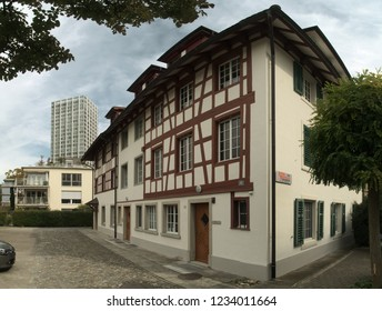 Winterthur, Zurich / Switzerland - 09 15 2017: Residential buildings in the town centre near the main station, Winterthur