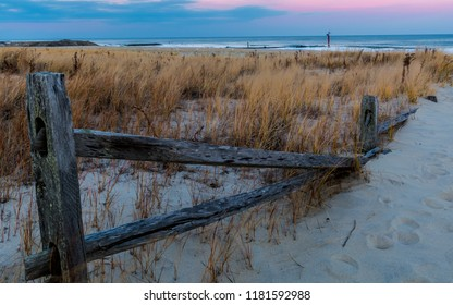 Wintertime view of the Beach in Sea Girt, New Jersey.