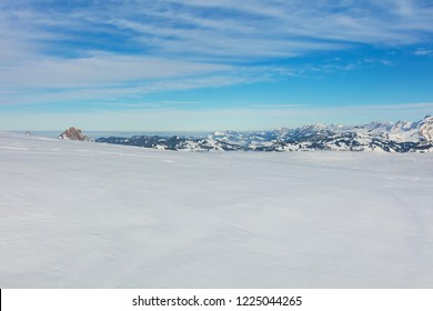 A wintertime view from the Fronalpstock mountain in the Swiss canton of Schwyz.