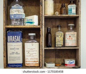 WINTERTON, CANADA, SEPTEMBER 1, 2018: Vintage food and medicine bottles and cans sitting on a store shelf, taken on September 1 in Winterton.