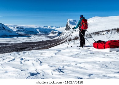 Wintertour on the Kungsleden hiking Trail in Northern Sweden, Sarek with Skierfe Mountain