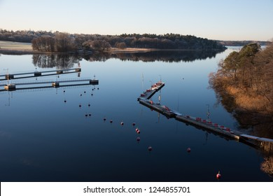 Winterview from a bridge a calm day in Bromma, Stockholm