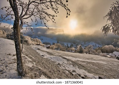 winterwonderland in the vosges mountains in france near Belmont