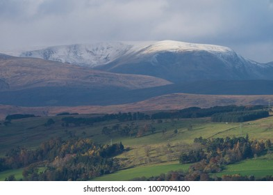 A wintery view of Ben Wyvis in the Scottish Highlands above Dingwall, Scotland, UK