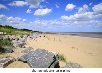 WINTHORPE, SKEGNESS, LINCOLNSHIRE, UK. JUNE 06, 2015. The beach at Winthorpe looking North towards Ingoldmells at Skegness in Lincolnshire, UK.
