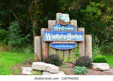Winthrop Harbor, Illinois / USA - September 24, 2018: Welcome to Winthrop Harbor sign when entering from Wisconsin to Illinois.