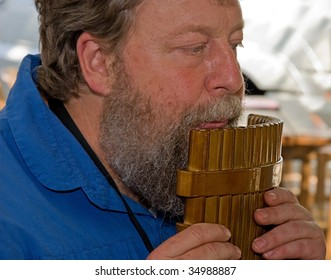 WINTHROP, WA - AUGUST 6: Musician  Randy Mead performs on pan flute at open air market on August 6, 2009 in Winthrop, WA.