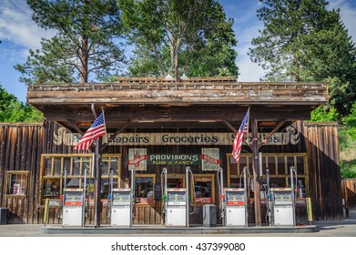 Winthrop, Wa. USA -June 18, 2009 : typical western style gas station and store at Winthrop, Washington