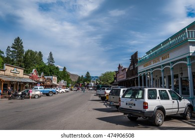Winthrop, Wa. USA - June 18, 2009 : view of Winthrop Main Street with stores, people, cars, Washington State, USA