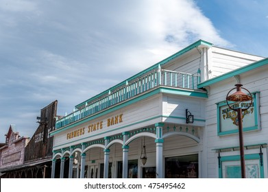 Winthrop, Washington State, USA - June 18, 2006 :  Farmers State Bank building of western style  with balcony at the top in Winthrop, Washington State, USA