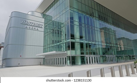 WINTRUST ARENA, CHICAGO IL USA, JULY 2018: The Wintrust Arena at McCormick Place Events Center, is a 10,387 seat sports venue in Chicago's Near South Side community area that opened in 2017.