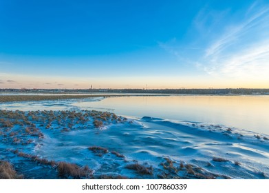 Wintry landscape in the nature reserve Graswarder in Heiligenhafen at the Baltic Sea