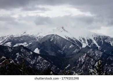 Wintry landscape in the snowy mountains
