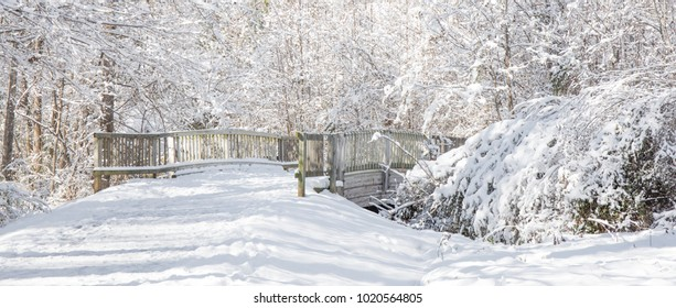 A wintry picturesque landscape of a snow covered walkway bridge on a bright sunny afternoon.