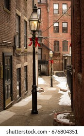 Wintry Walkway in Beacon Hill during Christmas