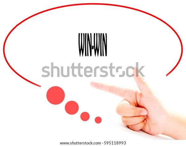 WIN-WIN -  Hand writing word to represent the meaning of Business word as concept.