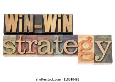win-win strategy - negotiation or conflict resolution concept - isolated words in vintage wood type