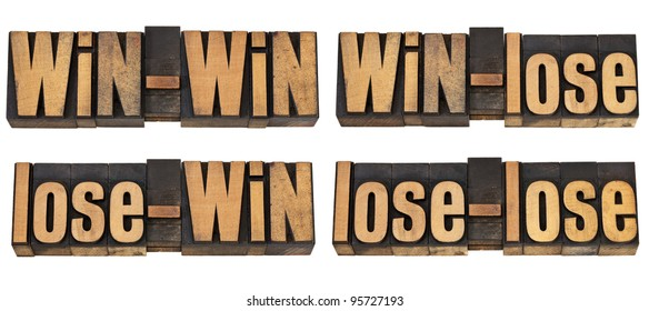 win-win, win-lose, lose-win, lose-lose - four possible outcome of conflict or game - a collage of isolated text in vintage letterpress wood type