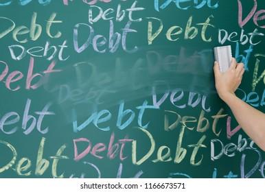 Wiping debt on a chalkboard.