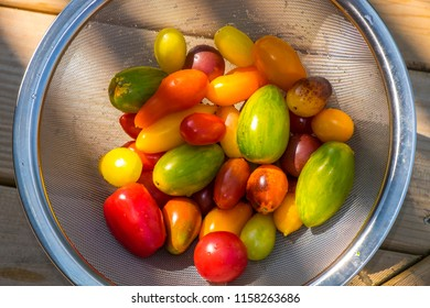 A wire basket filled with an assortment of colorful fresh tomatoes.