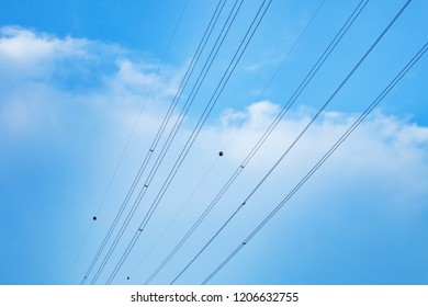 Wire with blue sky and clouds.