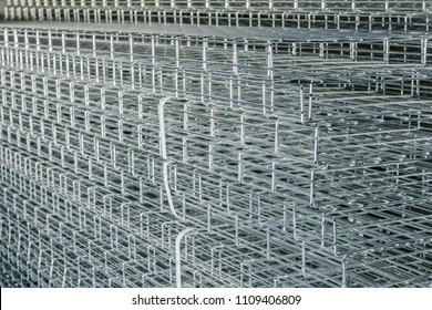 Wire cable trays stacked in a stack