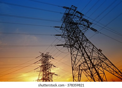 Wire electrical energy at sunset