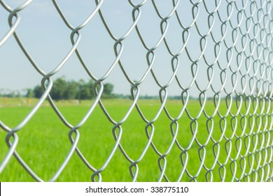 Wire fence closeup, select focus
