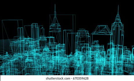 wire frame model of city - 3D Rendering