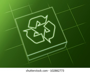wire glowing recycle sign over box and net