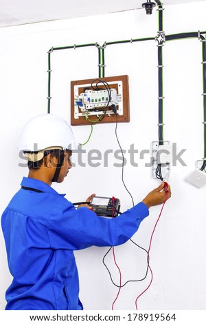wire man during testing surface wiring stock photo edit now rh shutterstock com surface wiring home depot surface wiring code