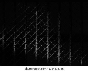 wire mesh of cage with light and shadow, black and white style