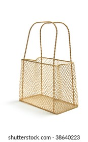 Wire Mesh Carry Basket on White Background