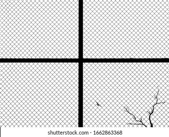 wire mesh of fence with dry tree on white background