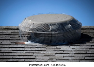 Wire mesh installed on roof top attic fan to prevent rodent entry to home/attic.