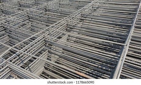 Wire mesh steel use for reinforce concrete in construction site.
