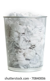Wire Mesh Trash Can on White. Full of crumpled paper, Side view.