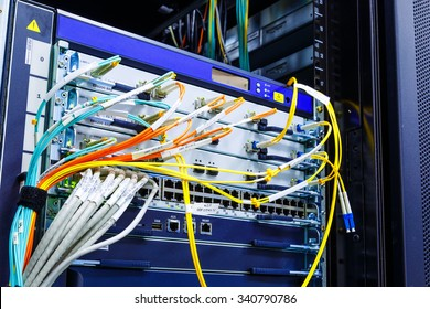 wire rack router mainframe in the data center