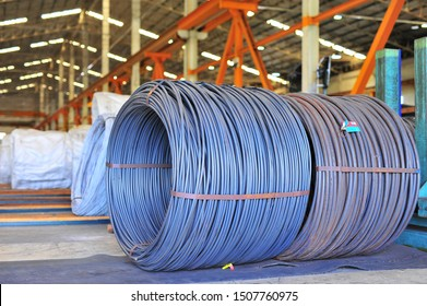 Wire rod or coil put on the floor in factory.