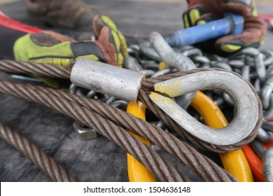 Wire rope cable with thimble eye swaged one end