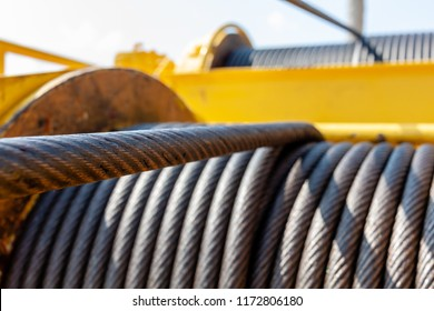 Wire rope sling or cable sling on crane reel drum  or winch roll of crane the lifting machine in heavy industrial