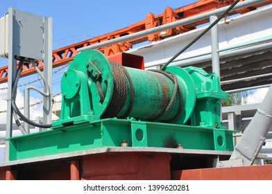 Wire rope sling or cable sling on crane reel drum or winch roll of crane the lifting machine