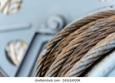 Wire rope sling or cable sling on on winch roll machine