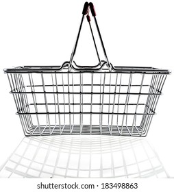 Wire shopping basket isolated on a white background