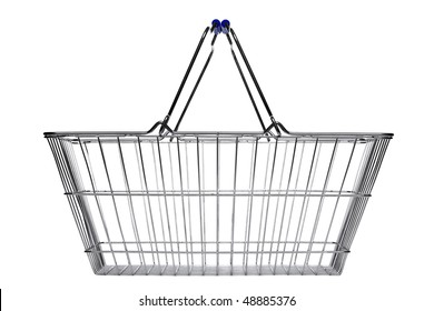Wire shopping basket isolated on a white background.
